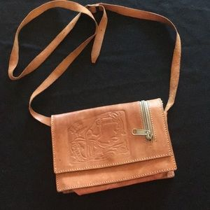 Vintage hand tooled leather cross body bag